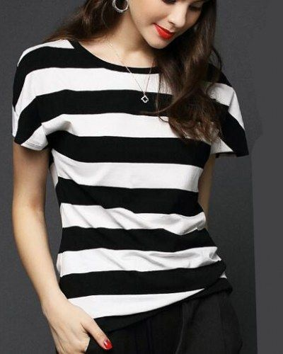 dc381c0ea0a9 Black and white striped t shirt for women short sleeve tshirts ...