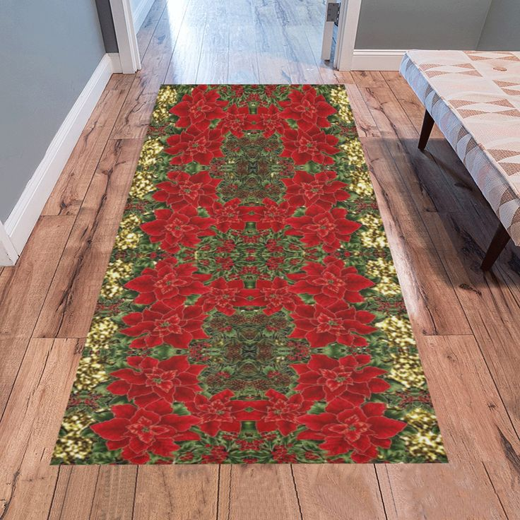 Red & Gold Poinsettia Pattern 2 Area Rug 7'x3'3''