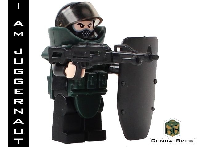 Juggernaut - Custom LEGO Modern Warfare Army Military Minifig with a Machine Gun and EOD (Explosive Ordinance Disposal) Suit