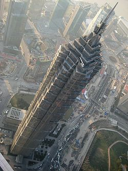 Jin Mao Tower from nearby Shanghai World Financial Centre
