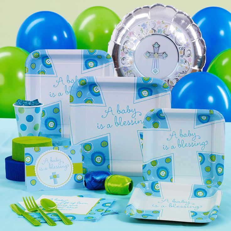 Baptism Theme Ideas for a boy and a girl | Home > Blessed Baby Boy Baptism/ Christening Standard Party Pack for ...