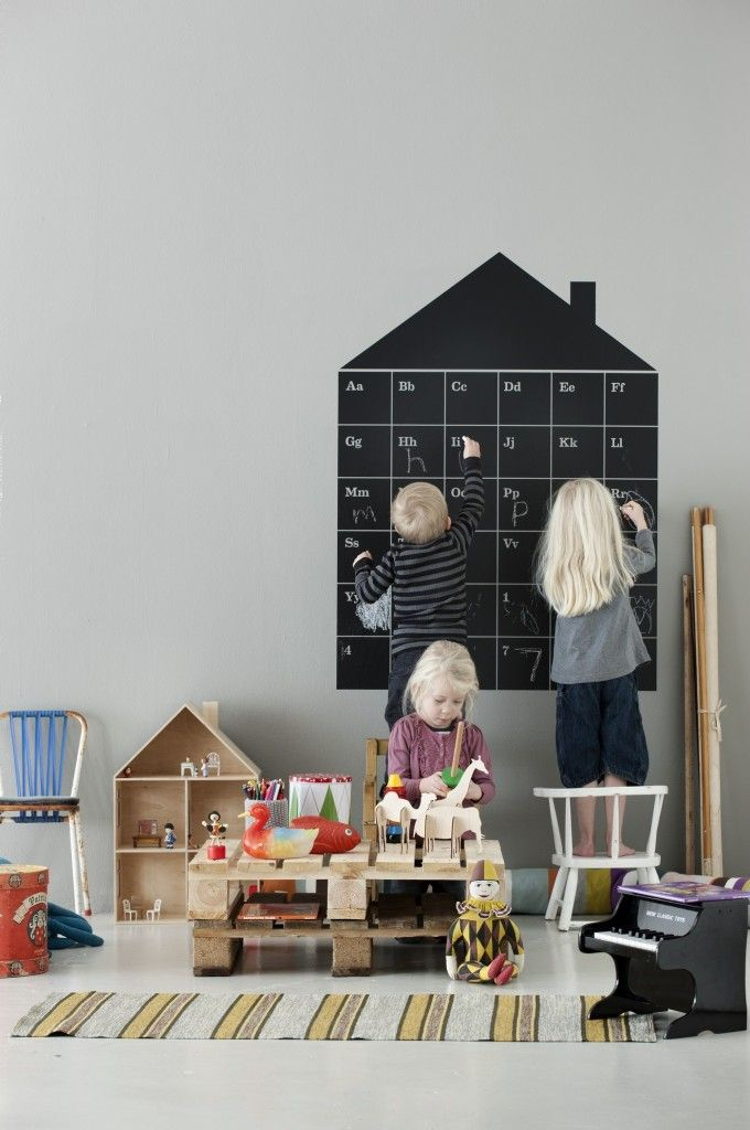 This awesome chalkboard ABC House is from Ferm Living, but I bet it could be a DIY!