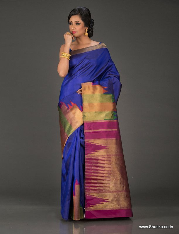 Haridasapriya Royal Blue Ornate Pure Kanjeevaram Silk Saree is inspired by the heritage surrounding Kanchipuram temples, at the same time restricting it only to the pallu and border for more contemporary patrons. The heavily ornate pallu of this Kanjeevaram silk saree is designed to reflect the beauty inside, outside.