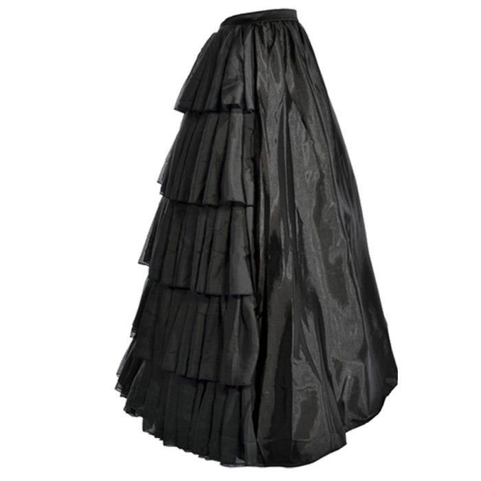"Beautiful black long skirt , elasticated waist, with a layered pleated black satin rear to create a fuller effect. This long length skirt is ideal to wear in any special occasion. Hoop NOT included! Length: 40"" ."