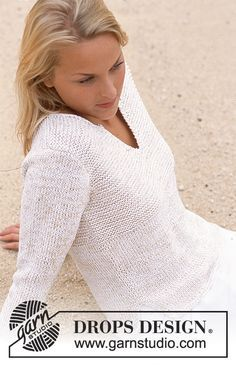 magnifique pull en coton pour les soirées un peu fraiche, 100% coton, explications gratuites sur le site de drops