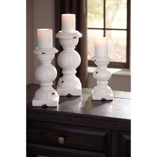 Shop for Signature Design by Ashley Devorah Antique White Candle Holder Set (Set of 3). Get free shipping at Overstock.com - Your Online Home Decor Outlet Store! Get 5% in rewards with Club O!
