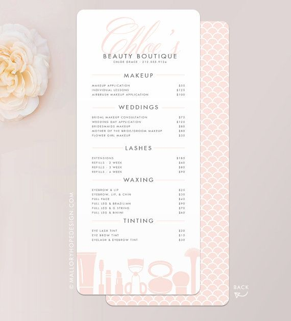 Grace Makeup Artist or Cosmetologist Services Price List Rack Card by © MalloryHopeDesign.com MalloryHopeDesign.Etsy.com