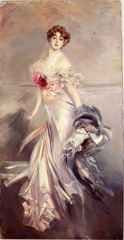 """Giovanni Boldini (Ferrra 1842 - Parigi 1931) - """"Ritratto di Marthe Regnier"""" (1905) -  olio su tela -  Collezione privata"""