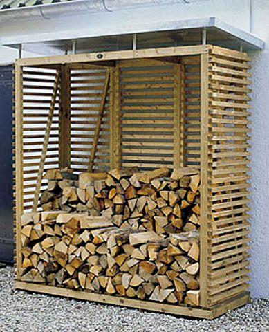 Design houtopslag met voldoende ruimte voor 2 kuub gestapeld brandhout.