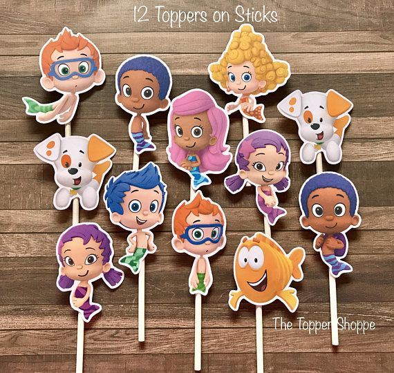 BUBBLE GUPPIES Cupcake Toppers / Cake Toppers / Die Cuts / Birthday Party / Decorations / Cake Pops / Supplies / Decor / Fast Shipping!