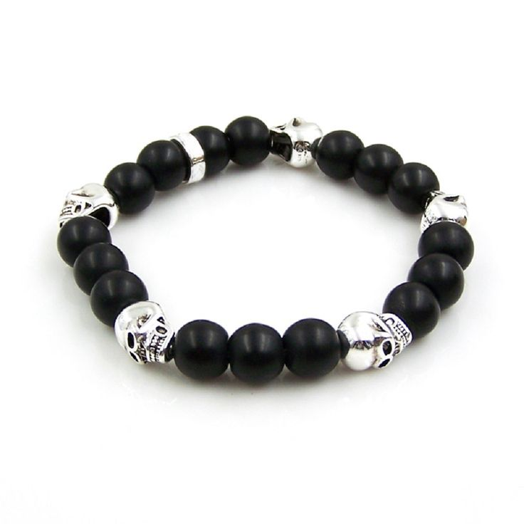 Thomas Style Five Skulls Black Obsidian Bracelets Rebel And Heart Vintage Friendship Bracelets for Men TS Jewelry Gifts Bijoux