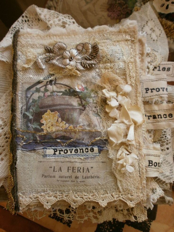 Provence, France, fabric journal. (Use for vintage or steampunk wedding GUESTBOOK? hmm)