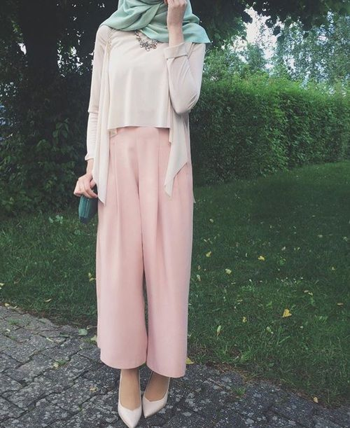 Pinterest: @eighthhorcruxx. Pink trousers, white top and cardigan and green hijab.