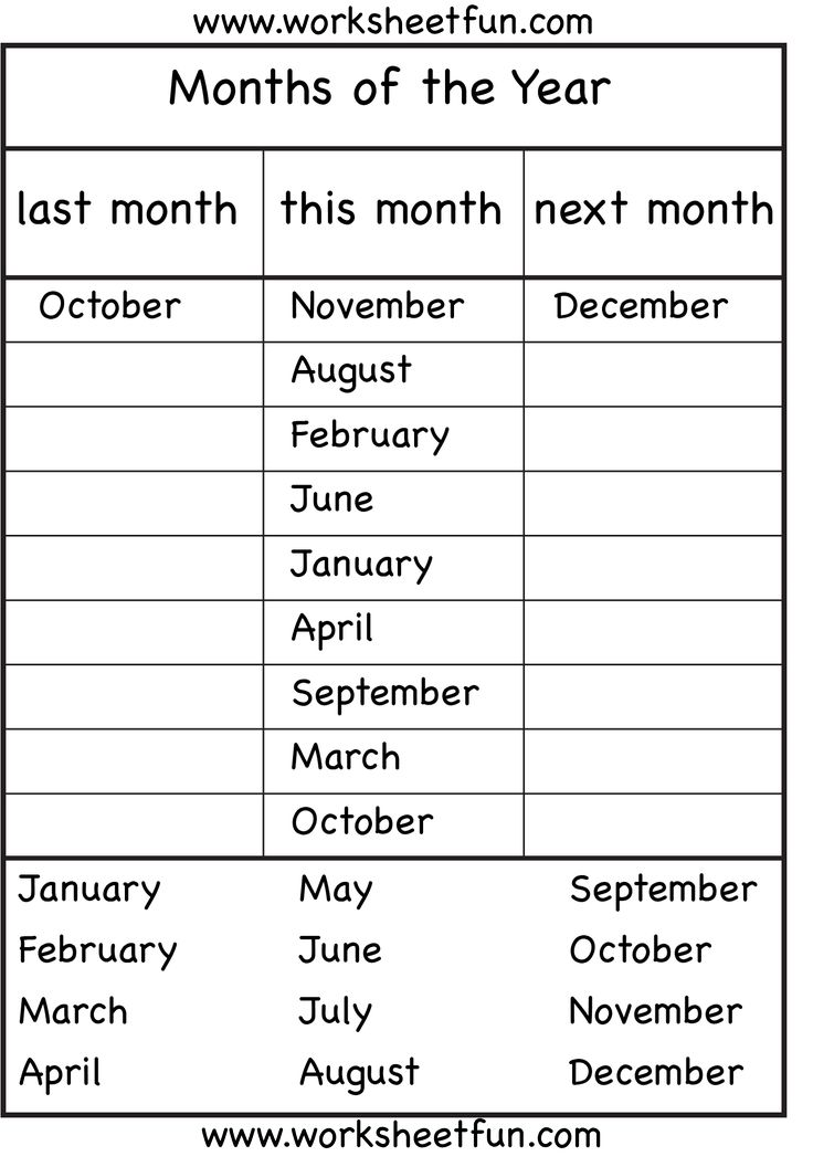 Months of the Year - 4 Worksheets