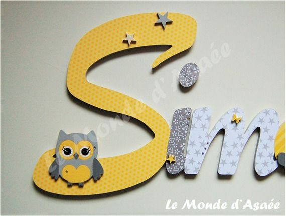 Plaque de porte enfant lettres g antes chouette for Decoration porte bebe