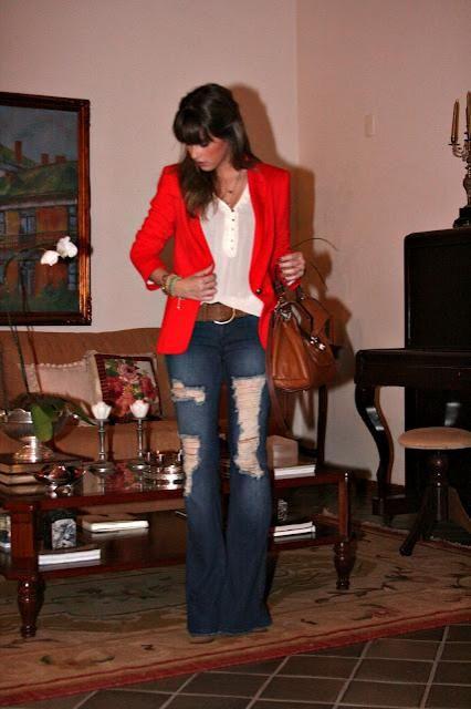 Marina Casemiro » Look da noite: blazer vermelho + flare!