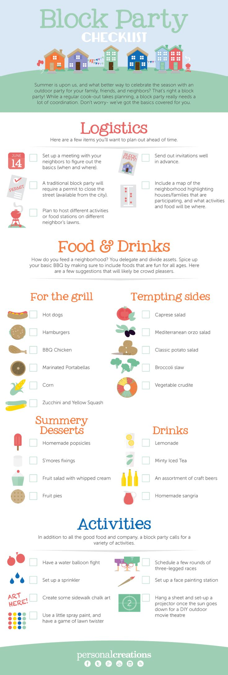 Block Party Checklist  [by PersonalCreations.com -- via #tipsographic]. More party  tips at tipsographic.com