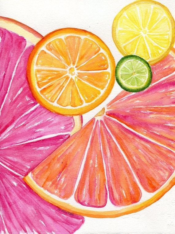 Citrus watercolor painting original, 8 x 10 Tutti Frutti Grapefruit, Lemon…