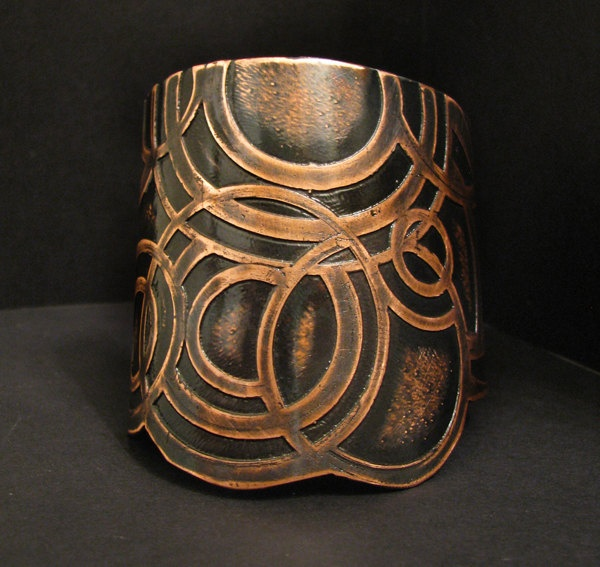 Cuff | Jamie Spinello.  Etched and oxidized copper