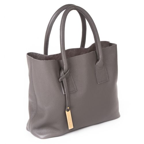 Marta Jonsson Grey Leather Grab Bag with Inside Pocket with Zip and Gold MJ Logo.