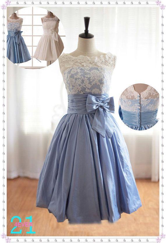 $109.99 + $10 shipping Short Taffeta Dresses Taffeta Prom Dresses Blue Taffeta by 214EVER, $109.99