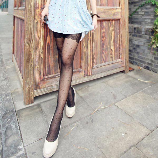 Jacquard Lace Retro Antyhose Cored Wire Sexy Women Stockings - US$4.62