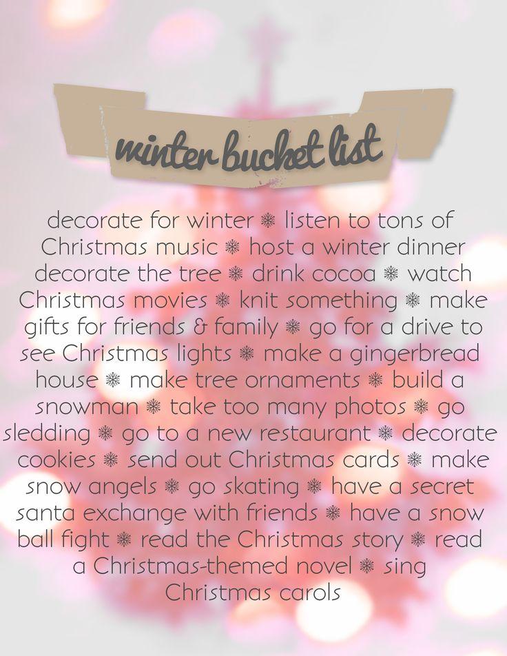 Also: kiss under the mistletoe, donate/volunteer, random act of kindness, xmas parade, xmas eve box...