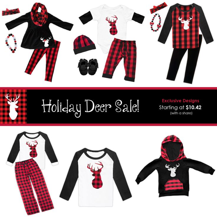 New Holiday Deer Buffalo Plaid Outfits! Unisex and adult sizes - Perfect for family pictures and other special occasions! Pajamas, pant sets, onesies, hoodies and more starting at Newborn to size 10/12 and XS to XXXL for the adult sizes. Shop now, prices will go up once these are in stock...