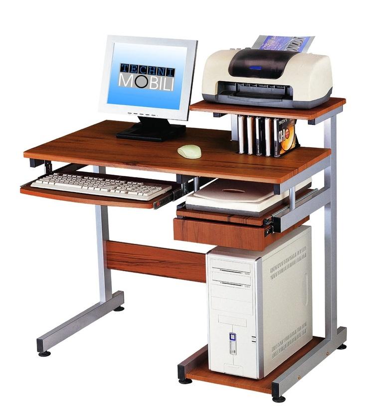 techni mobili complete media computer desk for a teen woodgrain 38inch w
