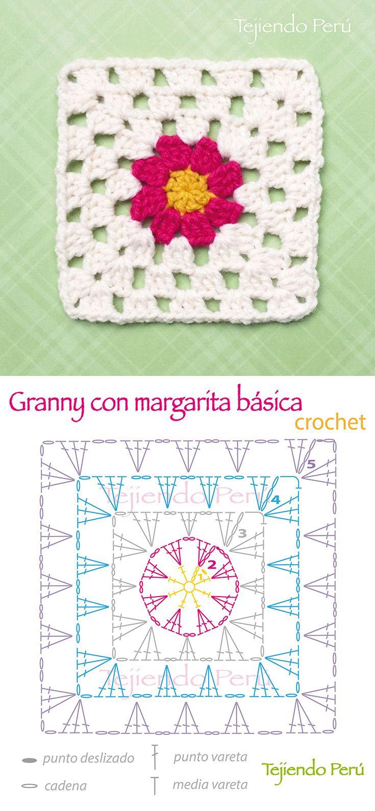 Crochet: diagrama de un lindo granny o cuadrado con un flor de margarita básica en el centro! En el enlace pueden ver el video del granny básico para que tengan una idea de cómo tejer a partir de la hilera 3!