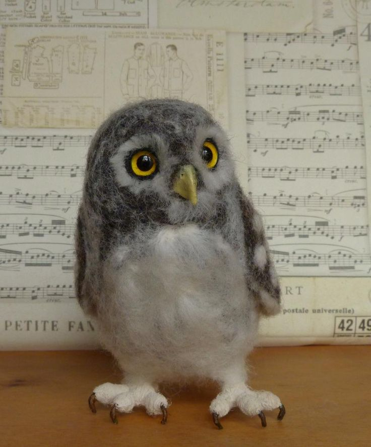 """Curious Baby Owl, handmade, needle-felted wool by Helen Priem, on Etsy. Click on image for other members of this """"family."""""""