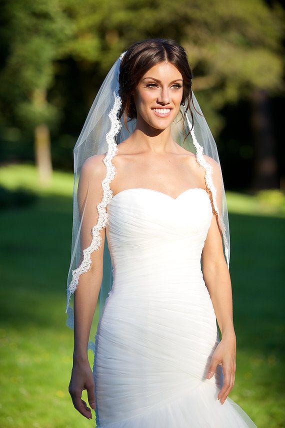 """Alencon Lace Veil 39"""" in Light Ivory, CoutureBrideBoutique (etsy)"""