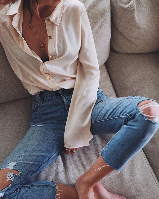 Wednesday nigh mood  // silk shirt @kwanlabel #kwanlabel