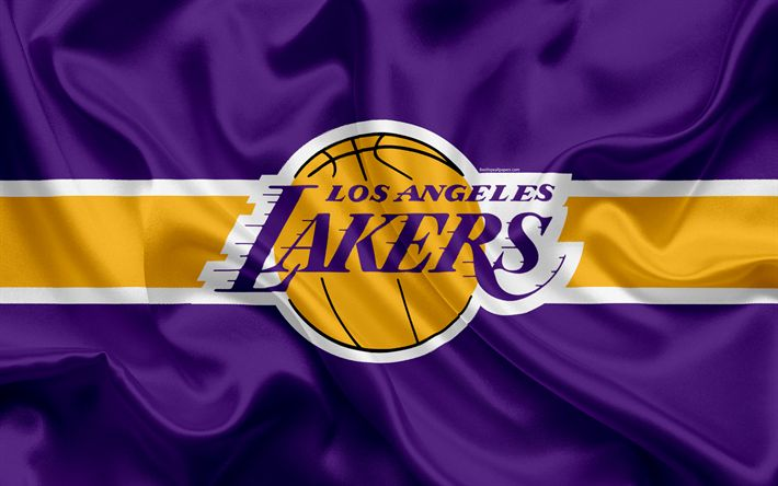 Download wallpapers Los Angeles Lakers, basketball club, NBA, emblem, new logo, USA, National Basketball Association, silk flag, basketball, Los Angeles, California, US basketball league, Pacific Division