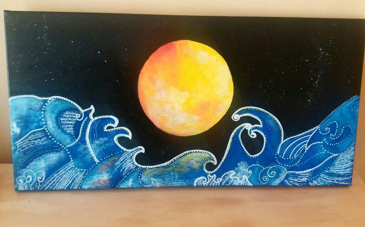 Luna llena pintada en tela de 30×60 con acrilicos y plumones poscas!