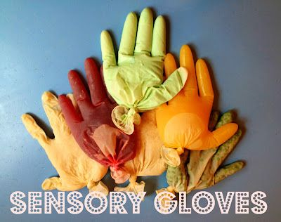 Fill gloves with different textured items: peas, cooked oatmeal, rice, ice - etc. looks like fun and I've got a whole box of latex gloves in the garage!