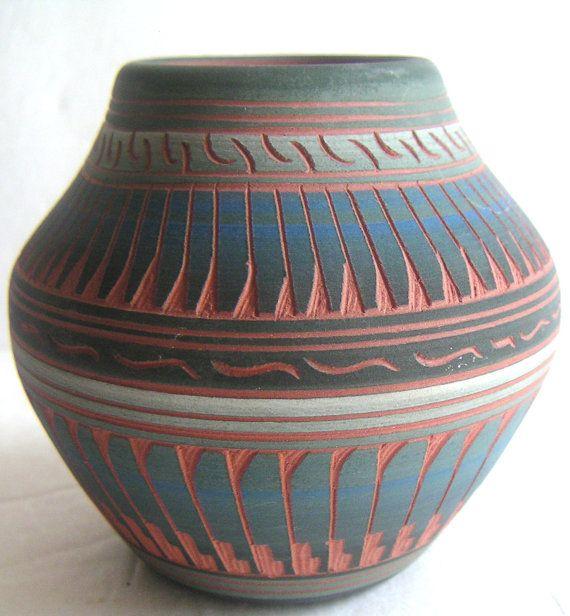 Vintage Southwestern Vase by Michael Charlie Signed by QVintage, $25.00