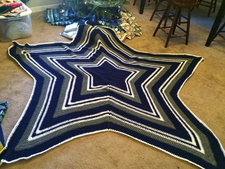 Free pattern Crocheted Dallas Cowboy's Star Blanket would be so cool just full in the edges to make it aware to fit the bed