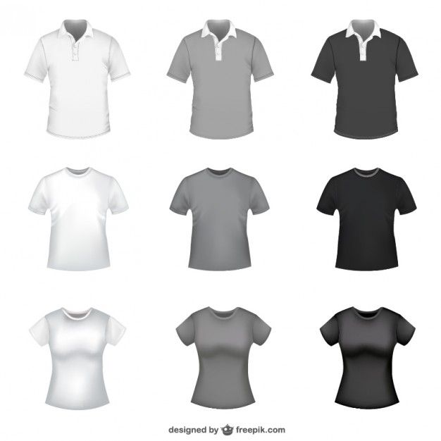 T-shirt in white, grey and black for men and women Free Vector