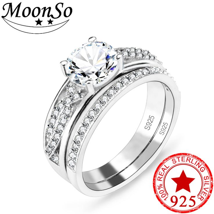 Cheap Womens Wedding Ring Sets, Buy Quality Ring Set Directly From China Wedding  Ring Set Suppliers: Moonso New 2017 925 Sterling Silver Women Wedding Ring  ...