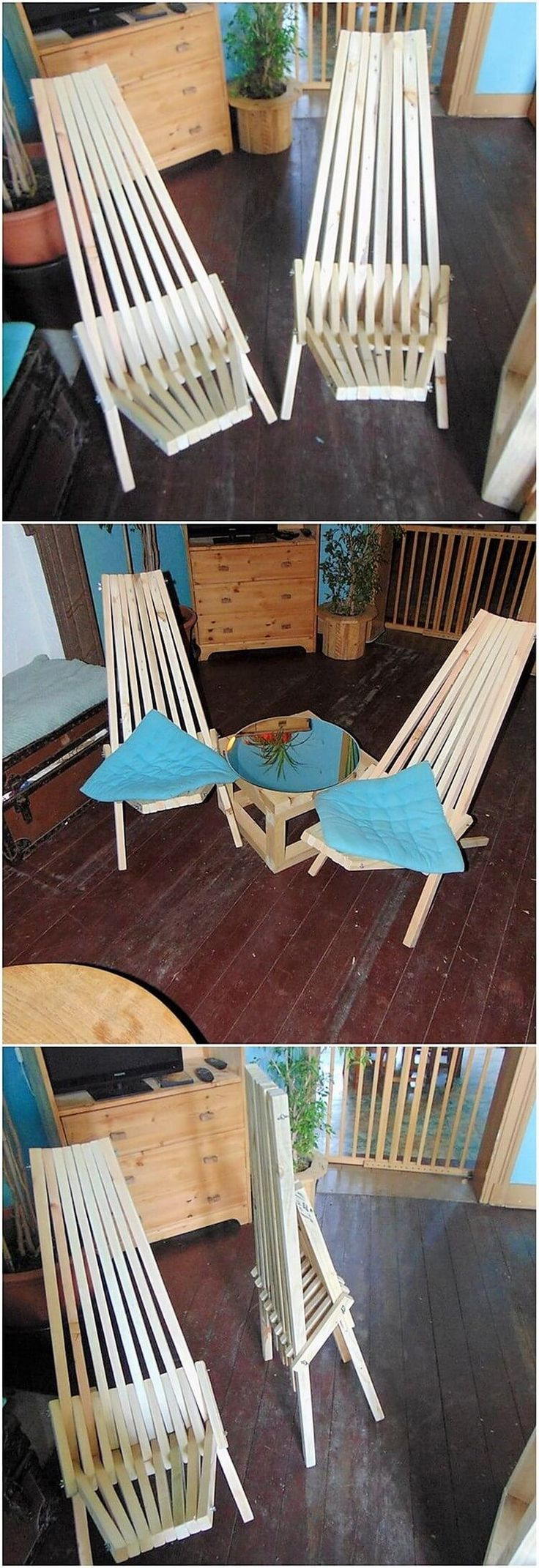 This is so innovative creation piece of the wood pallet where you will encounter the mesmerizing fold chair artwork design. It might fold to make it easy for you to take it any place you want to. As you would open the folding chair, you can adjust it to be used as the sun lounger piece.