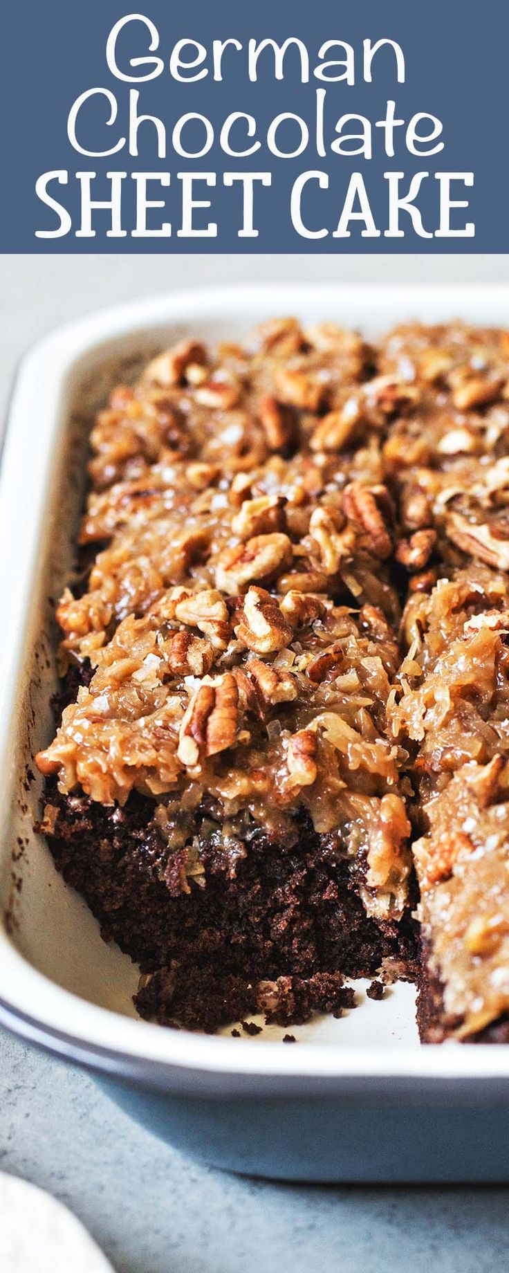 German Chocolate Sheet Cake! Same chocolate cake with gooey coconut-pecan topping, but way easier to make.