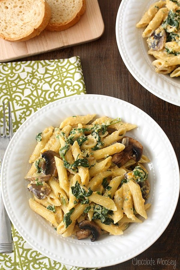 Butternut Squash, Spinach, and Mushroom Penne Alfredo