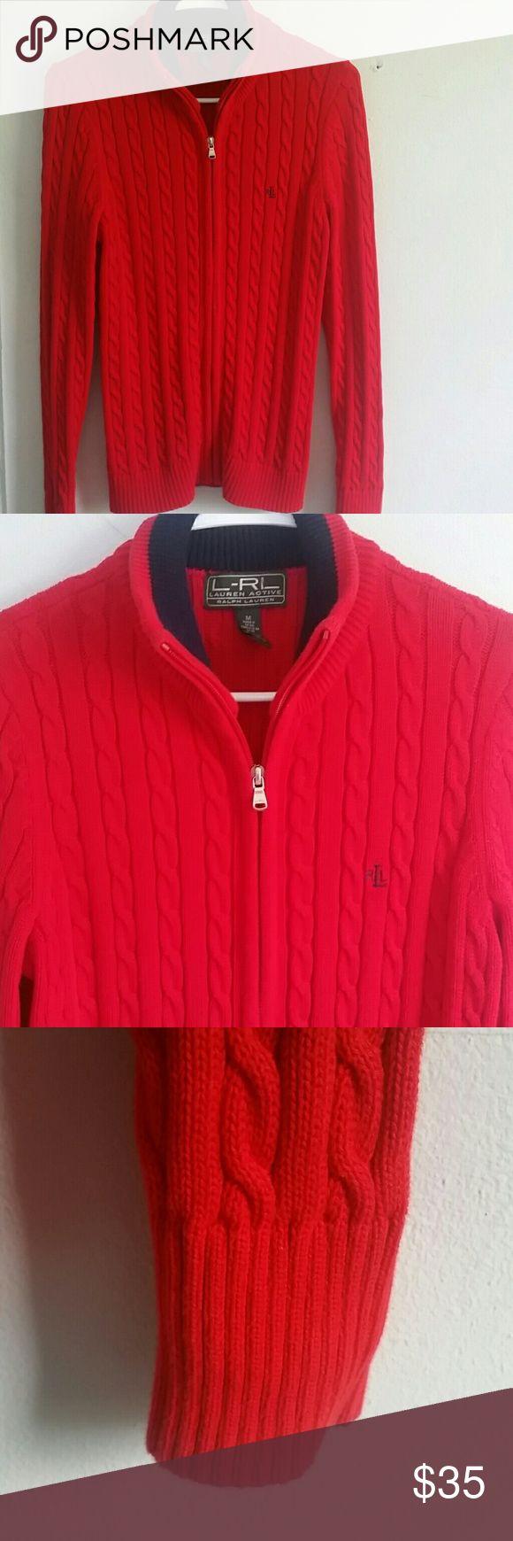 Ralp lauren zipper down knit Red zipper down knit Ralph Lauren Sweaters Cardigans
