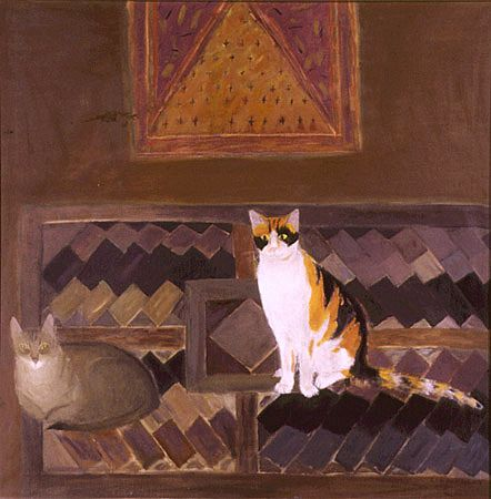 Two Cats on a Kelim - Elizabeth Blackadder  1978