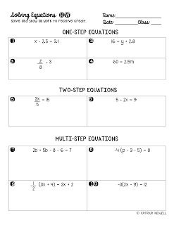 FREE Solving Equations HW