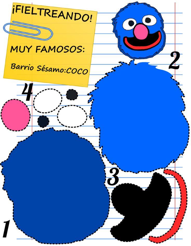 ¿Las plantillas para fieltro más chulas? Como esta de Coco y demás personajes de Barrio sésamo, las tienes en Mamá Eva. Ven a vernos, porfi. ¡Gracias!