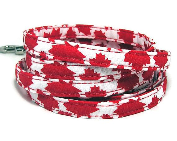 XS Leash  O Canada  3/8  wide XS 4 or 6 Feet long by PawsnTails, $22.00