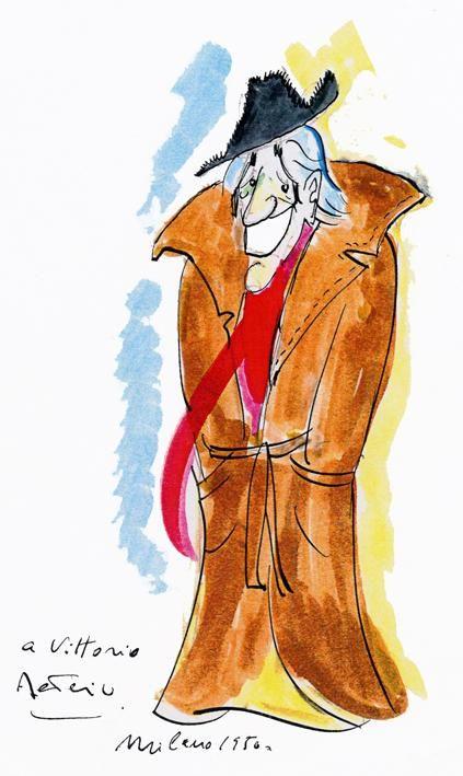Caricature of Vittorio de Sica ~ Federico Fellini #Fellini #artwork