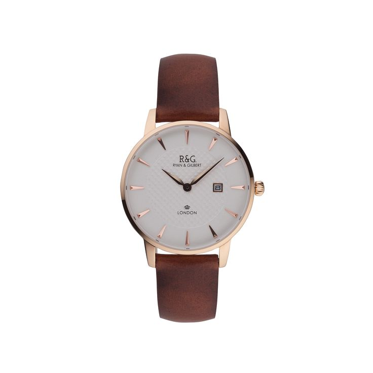 Mayfair in English Rose Gold with a Tobacco strap.